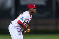 Springfield Cardinals third baseman Elehuris Montero (43) during a Texas League game against the Amarillo Sod Poodles on April 25, 2019 at Hammons Field in Springfield, Missouri. Springfield defeated Amarillo 8-0. (Zachary Lucy/Four Seam Images)