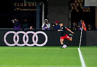 WASHINGTON, DC - APRIL 17: Edison Flores #10 of D.C. United takes a corner kick during a game between New York City FC and D.C. United at Audi Field on April 17, 2021 in Washington, DC.