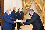 Palestinian President Mahmoud Abbas, receives the Credentials of the Ambassador of the Arab Republic of Egypt to Palestine, in the West Bank city of Ramallah, on March 10, 2021. Photo by Thaer Ganaim