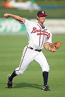 Andrew Wilson #46 of the Rome Braves throws in the outfield at State Mutual Stadium July 24, 2010, in Rome, Georgia.  Photo by Brian Westerholt / Four Seam Images
