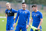 St Johnstone Training…31.07.19<br />Ali McCann, Michael O'Halloran and Marky Munro pictured during training ahead of Saturday's opening game of the season at Celtic Park.<br />Picture by Graeme Hart.<br />Copyright Perthshire Picture Agency<br />Tel: 01738 623350  Mobile: 07990 594431