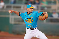 Lansing Lugnuts relief pitcher Will McAffer (16) during a Midwest League game against the Beloit Snappers at Cooley Law School Stadium on May 4, 2019 in Lansing, Michigan. The Lugnuts wore their Copa de la Diversión jerseys, becoming the Lansing Locos for the evening. Beloit defeated Lansing 2-1. (Zachary Lucy/Four Seam Images)
