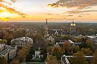 November 3, 2016; Notre Dame campus at sunset. (Photo by Barbara Johnston/University of Notre Dame)