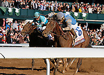 LEXINGTON, KY - APRIL 09: #6 Brody's Cause and jockey Luis Saez (inside rail) win the 92nd running of the Toyota Blue Grass (Grade 1) $1,000,000 at Keeneland race course for owner Albaugh Family Stable (Dennis Albaugh) and trainer Dale Romans. April 9, 2016 in Lexington, Kentucky. (Photo by Candice Chavez/Eclipse Sportswire/Getty Images)