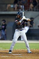 Khalil Lee (20) of the Wilmington Blue Rocks at bat during the 2018 Carolina League All-Star Classic at Five County Stadium on June 19, 2018 in Zebulon, North Carolina. The South All-Stars defeated the North All-Stars 7-6.  (Brian Westerholt/Four Seam Images)