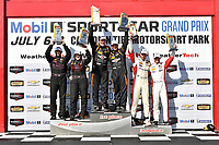 IMSA Continental Tire SportsCar Challenge<br /> Mobil 1 SportsCar Grand Prix<br /> Canadian Tire Motorsport Park<br /> Bowmanville, ON CAN<br /> Saturday 8 July 2017<br /> 56, Porsche, Porsche Cayman, ST, Jeff Mosing, Eric Foss, 44, Nissan, Altima, Sarah Cattaneo, Owen Trinkler, 37, MINI, MINI JCW, Mike LaMarra, James Vance, podium win, winner, victory lane<br /> World Copyright: Scott R LePage/LAT Images