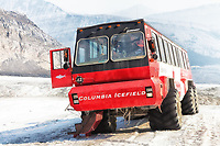 A view of theBrewster Ice Explorer Athabasca Glacier bus on the glacier during a tour.