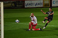 Jay Bird of MK Dons F.C. scores the third Goal and celebrates during Stevenage vs MK Dons, EFL Trophy Football at the Lamex Stadium on 6th October 2020