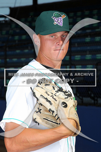Jamestown Jammers pitcher Andy Kainer (20) poses for a photo before a game vs. the Staten Island Yankees at Russell Diethrick Park in Jamestown Jammers, New York July 15, 2010.   Jamestown defeated Staten Island 5-1.  Photo By Mike Janes/Four Seam Images