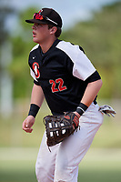 Justin Janas during the WWBA World Championship at the Roger Dean Complex on October 19, 2018 in Jupiter, Florida.  Justin Janas is a first baseman from Homer Glen, Illinois who attends Marist High School and is committed to Illinois.  (Mike Janes/Four Seam Images)