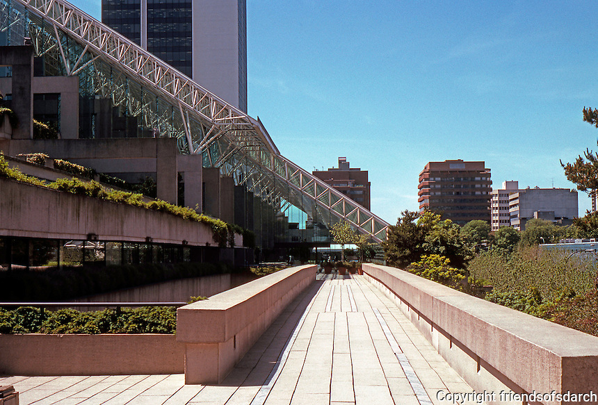 Vancouver: Law Courts--Robson Square. Megastructure, looking south.  Photo '86.