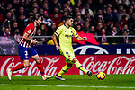 Luis Suarez of FC Barcelona (R) in action against Filipe Luis of Atletico de Madrid (L) during the La Liga 2018-19 match between Atletico Madrid and FC Barcelona at Wanda Metropolitano on November 24 2018 in Madrid, Spain. Photo by Diego Souto / Power Sport Images