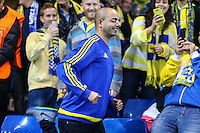 Maccabi Tel-Aviv fans ahead of the UEFA Champions League match between Chelsea and Maccabi Tel Aviv at Stamford Bridge, London, England on 16 September 2015. Photo by David Horn.
