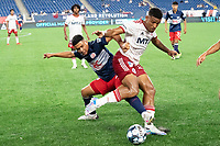 FOXBOROUGH, MA - JUNE 26: Alisson #27 of North Texas SC prepares to clear the ball as Damian Rivera #72 of the New England Revolution reaches for it during a game between North Texas SC and New England Revolution II at Gillette Stadium on June 26, 2021 in Foxborough, Massachusetts.