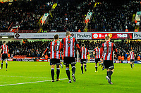 Sheffield United's forward Leon Clarke (9) celebrates his hat-rick goal during the Sky Bet Championship match between Sheff United and Hull City at Bramall Lane, Sheffield, England on 4 November 2017. Photo by Stephen Buckley / PRiME Media Images.