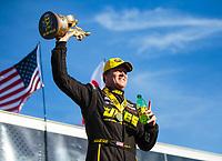 Feb 24, 2019; Chandler, AZ, USA; NHRA pro stock driver Jeg Coughlin Jr celebrates after winning the Arizona Nationals at Wild Horse Pass Motorsports Park. Mandatory Credit: Mark J. Rebilas-USA TODAY Sports