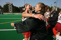 6 November 2007: Stanford Cardinal Jessica Zutz (left) and Alessandra Moss (right) during Stanford's 1-0 win against the Lock Haven Lady Eagles in an NCAA play-in game to advance to the NCAA tournament at the Varsity Field Hockey Turf in Stanford, CA.