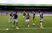Pictured L-R: Angel Rangel, Raheem Hanley, Jay Fulton, Kenji Gorre, Matt Grimes and Modou Barrow<br /> Re: Premier League match between Crystal Palace and Swansea City at Selhurst Park on Sunday 24 May 2015 in London, England, UK