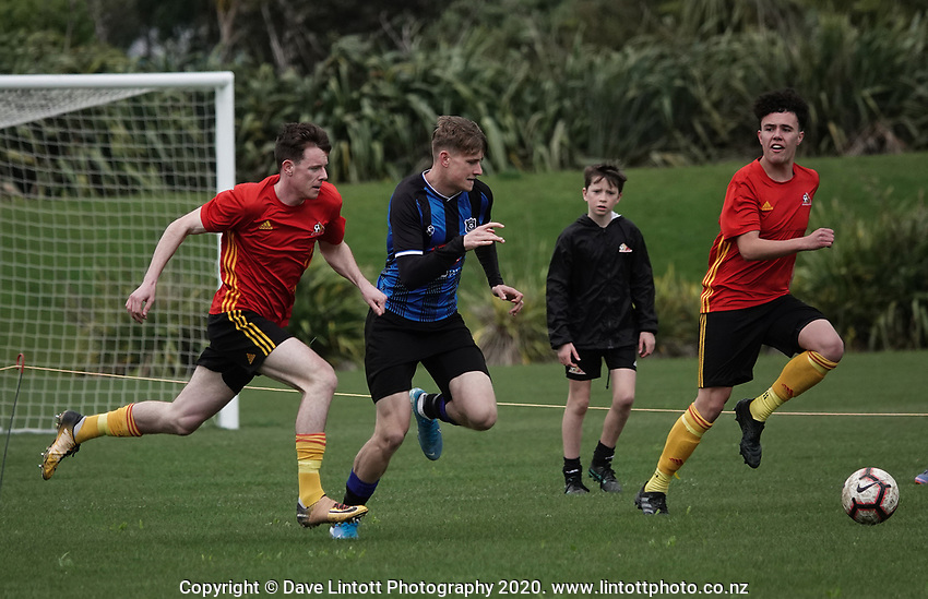 Action from the Central League football match between Stop Out and Miramar Rangers at Hutt Park in Seaview, New Zealand on Saturday, 26 September 2020. Photo: Dave Lintott / lintottphoto.co.nz