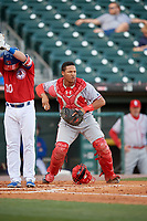 Syracuse Chiefs catcher Pedro Severino (29) checks the runner during a game against the Buffalo Bisons on May 18, 2017 at Coca-Cola Field in Buffalo, New York.  Buffalo defeated Syracuse 4-3.  (Mike Janes/Four Seam Images)