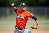 Miami Marlins pitcher Vincenzo Aiello (9) during a Minor League Spring Training game against the St. Louis Cardinals on March 26, 2018 at the Roger Dean Stadium Complex in Jupiter, Florida.  (Mike Janes/Four Seam Images)