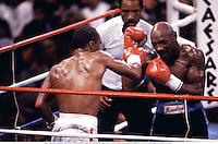 "6th April 1987: Las Vegas, Nevada, USA; Sugar Ray Leonard battles ""Marvelous"" MARVIN HAGLER, right, during a middleweight bout at Caesars Palace in Las Vegas"