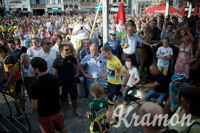 Chris Froome (GBR/SKY) waiting to be introduced to the Mechelen crowd<br /> <br /> Post-Tour Criterium Mechelen 2015