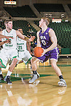 Stephen F. Austin Lumberjacks forward Thomas Walkup (0) in action during the game between the Stephen F. Austin Lumberjacks and the North Texas Mean Green at the Super Pit arena in Denton, Texas. SFA defeats UNT 87 to 53.