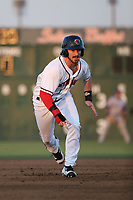 Brendan Rodgers (1) of the Lancaster JetHawks runs the bases during a game against the Stockton Ports at The Hanger on May 12, 2017 in Lancaster, California. Lancaster defeated Stockton, 7-2. (Larry Goren/Four Seam Images)