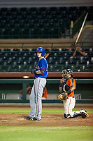 AZL Rangers catcher Sam Huff (12) at bat against the AZL Giants on August 22 at Scottsdale Stadium in Scottsdale, Arizona. AZL Rangers defeated the AZL Giants 7-5. (Zachary Lucy/Four Seam Images via AP Images)