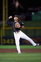 Quad Cities River Bandits shortstop Kristian Trompiz (13) throws to first during the second game of a doubleheader against the Wisconsin Timber Rattlers on August 19, 2015 at Modern Woodmen Park in Davenport, Iowa.  Quad Cities defeated Wisconsin 8-1.  (Mike Janes/Four Seam Images)