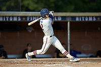 Ethan Murray (2) (Duke) of the High Point-Thomasville HiToms follows through on his swing against the Statesville Owls at Finch Field on July 19, 2020 in Thomasville, NC. The HiToms defeated the Owls 21-0. (Brian Westerholt/Four Seam Images)