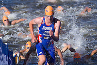 20 JUL 2013 - HAMBURG, GER - Alistair Brownlee (GBR) of Great Britain heads for transition at the end of the swim at the elite men's ITU 2013 World Triathlon Series round in the Altstadt Quarter, Hamburg, Germany (PHOTO COPYRIGHT © 2013 NIGEL FARROW, ALL RIGHTS RESERVED)