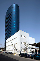 A modern highrise office block rises behind the Bauhaus style Max Pine School on Hachmi (Haroshet) Street, built in 1936 by Architect Erich Mendelsohn. Tel Aviv is known as the White City in reference to its collection of 4,000 Bauhaus style buildings, the largest number in any city in the world. In 2003 the Bauhaus neighbourhoods of Tel Aviv were placed on the UNESCO World Heritage List. .