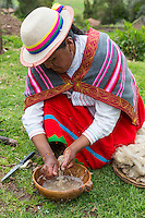 Peru, Urubamba Valley, Quechua Village of Misminay.  Woman Washing Wool in Organic Detergent Obtained from a Local Root.