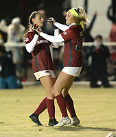 NWA Democrat-Gazette/ANDY SHUPE<br /> Arkansas' Parker Goins (right) is congratulated Friday, Nov. 15, 2019, by Tori Cannata after Goins scored the Razorbacks' second goal during the second half of play against North Texas in the first round of the NCAA women's soccer tournament at Razorback Field in Fayetteville. Visit nwadg.com/photos to see more photographs from the match.