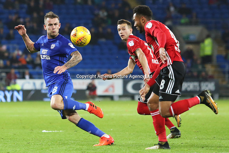 Joe Ralls of Cardiff City marks Grant Ward of Ipswich during the Sky Bet Championship match between Cardiff City and Ipswich Town at The Cardiff City Stadium, Cardiff, Wales, UK. Tuesday 31 October 2017