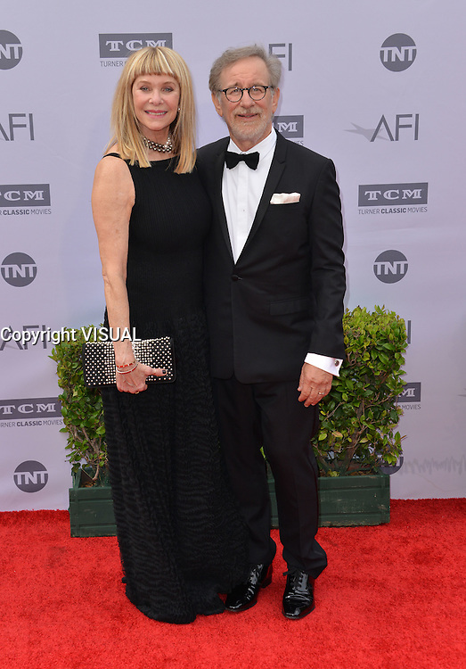Steven Spielberg + Kate Capshaw @ the 44th AFI Life Achievement award tribute honoring John Williams held @ the Dolby theatre. June 9, 2016