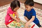 Preschool age boy at home age 3 with toddler sister age 16 months playing with puzzle with pieces that move tracks