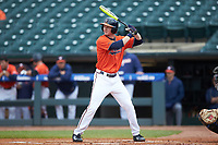 Pavin Smith (10) of the Virginia Cavaliers at bat against the Duke Blue Devils in Game Seven of the 2017 ACC Baseball Championship at Louisville Slugger Field on May 25, 2017 in Louisville, Kentucky. The Blue Devils defeated the Cavaliers 4-3. (Brian Westerholt/Four Seam Images)