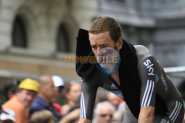 Bradley Wiggins (GBR) Sky Procycling disappointed to lose by 7 seconds at the end of the Prologue of the 99th edition of the Tour de France 2012, a 6.4km individual time trial starting in Parc d'Avroy, Liege, Belgium. 30th June 2012.<br /> (Photo by Eoin Clarke/NEWSFILE)