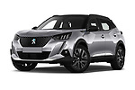 Stock pictures of low aggressive front three quarter view of 2020 Peugeot e-2008 GT 5 Door SUV Low Aggressive