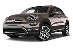 Stock pictures of low aggressive front three quarter view of 2017 Fiat 500X Trekking 5 Door SUV Low Aggressive