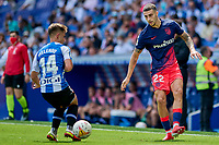 12th September 2021: Barcelona, Spain:  Mario Hermoso of Atletico de Madrid plays the ball past Melendo during the Liga match between RCD Espanyol and Atletico de Madrid at RCDE Stadium in Cornella, Spain.