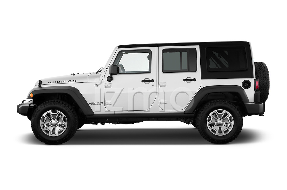 Driver side profile view of a 2013 Jeep Wrangler Unlimited Rubicon