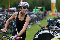 10 MAY 2015 - ST. NEOTS, GBR - Sarah Kerswell runs through transition for the start of the bike during the 2015 British Sprint Triathlon Championships at Riverside Park in St. Neots, Great Britain (PHOTO COPYRIGHT © 2015 NIGEL FARROW, ALL RIGHTS RESERVED)