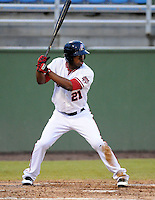 Outfielder Destin Hood (21) of the Potomac Nationals, Carolina League affiliate of the Washington Nationals, in a game against the Salem Red Sox on June 16, 2011, at Pfitzner Stadium in Woodbridge, Va. Photo by Tom Priddy / Four Seam Images