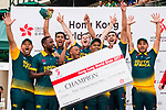 Players of South Africa Team celebrate as they receive the Cup award during Day 2 of Hong Kong Cricket World Sixes 2017 Award Presentation at Kowloon Cricket Club on 29 October 2017, in Hong Kong, China. Photo by Vivek Prakash / Power Sport Images