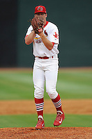Pitcher Landon Beck (23) of the Johnson City Cardinals delivers a pitch in a game against the Elizabethton Twins on Sunday, July 27, 2014, at Howard Johnson Field at Cardinal Park in Johnson City, Tennessee. The game was suspended due to weather in the fifth inning. (Tom Priddy/Four Seam Images)