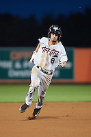 Tri-City ValleyCats outfielder Aaron Mizell (8) running the bases during a game against the Aberdeen Ironbirds on August 6, 2015 at Ripken Stadium in Aberdeen, Maryland.  Tri-City defeated Aberdeen 5-0 in a combined no-hitter.  (Mike Janes/Four Seam Images)